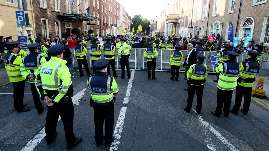 Gardaí maintained a strong presence outside Leinster House throughout the day