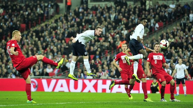 Wayne Rooney scored the opening goal of the game at Wembley with a well-taken header
