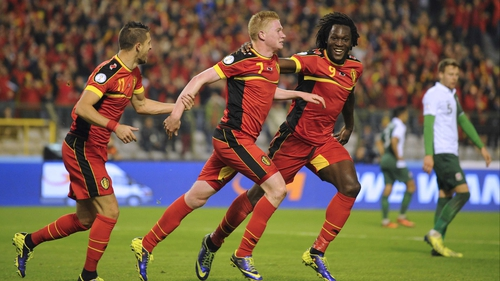 Kevin De Bruyne celebrates opening the scoring for the hosts at the King Baudouin Stadium