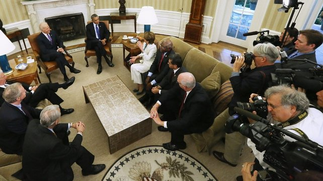 Barack Obama and Vice President Joe Biden meet House Democratic leaders, including Nancy Pelosi and Chris Van Hollen in the Oval Office