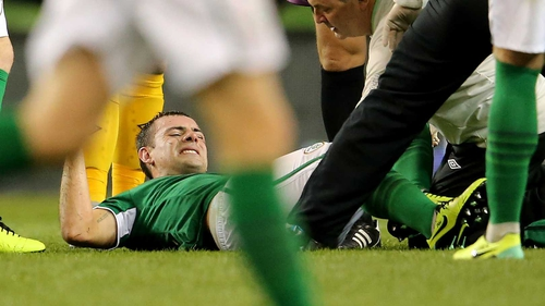 Darron Gibson was carried off injured against Kazakhstan