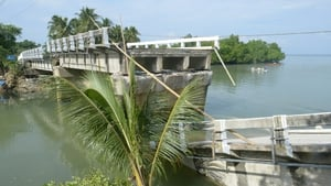 A bridge on Bohol was badly damaged in the earthquake