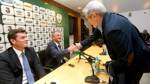The day after the night before - Tony O'Donoghue and Noel King exchange a handshake after their somewhat tense exchange following the Ireland v Kazakhstan match