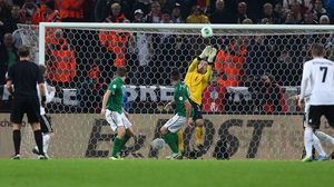 Keeper earns his corn - David Forde makes another save to keep the scoreline down as Ireland lost 3-0 to Germany in Cologne