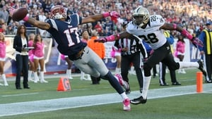 So near and yet so far - Wide receiver Aaron Dobson (17) of the New England Patriots misses a pass against the New Orleans Saints