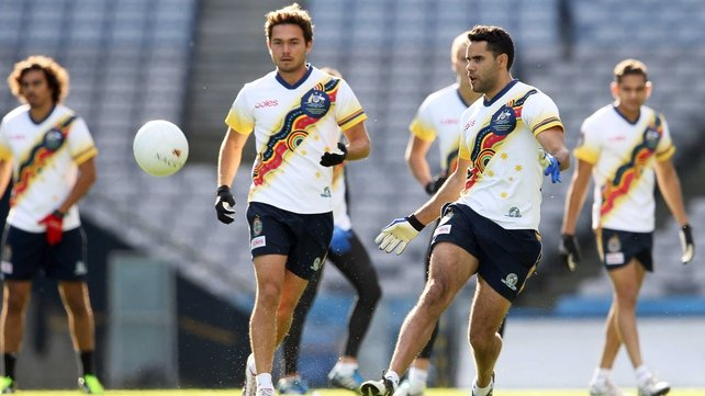 Daniel Wells gets in some kicking practice with the Australian squad at Croke Park