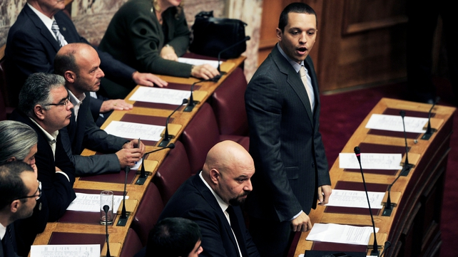 Golden Dawn party spokesman Ilias Kassidiaris spoke prior to the vote to lift the immunity
