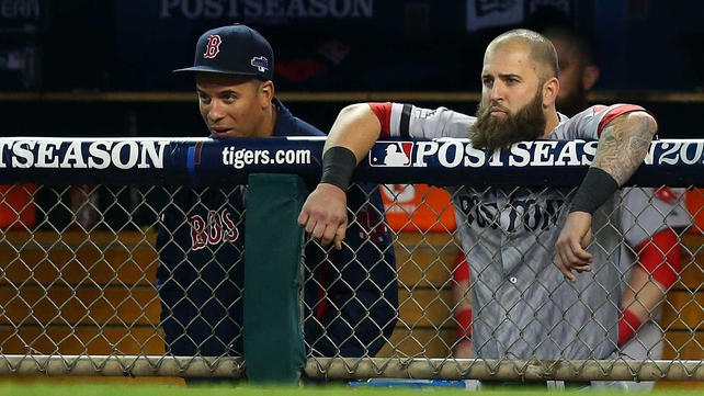 Mike Napoli (right) watches on as the Red Sox are beaten in Detroit