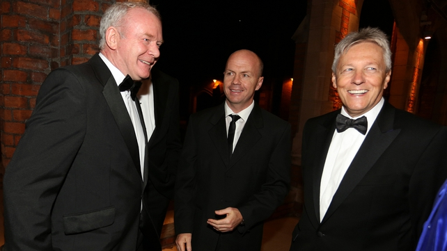 Peter Robinson (R) with Martin McGuinness (L) and Peter Canavan of Tyrone Ulster GAA pictured at the event