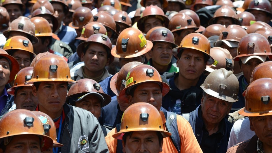 Bolivian Miners gather to commemorate the 10th anniversary of the indigenous uprising that put an end to president Gonzalo Sanchez de Losada's government