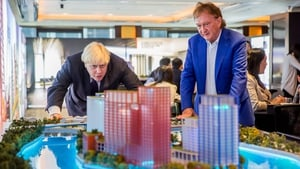 London mayor Boris Johnson and Ballymore chairman Sean Mulryan with a model of the London City Island project at a launch exhibition in Hong Kong