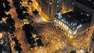 An aerial view of the 'Teachers' day' protest in demand of better working conditions and against police violence in Rio de Janeiro