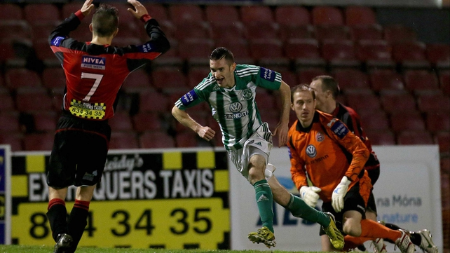 Kieeran Marty Waters scores the goal that ensures Bray will not finish bottom of the league