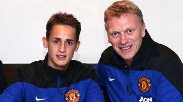 Adnan Januzaj with Manchester United manager David Moyes