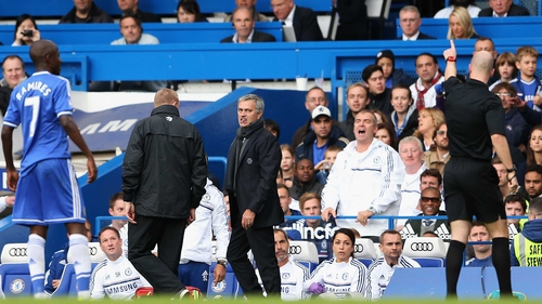 Jose Mourinho was ordered to the stands by referee Anthony Taylor