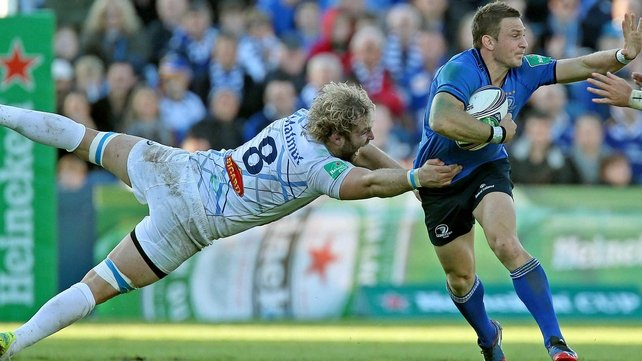 Leinster's Jimmy Gopperth makes  a break through the Castres line