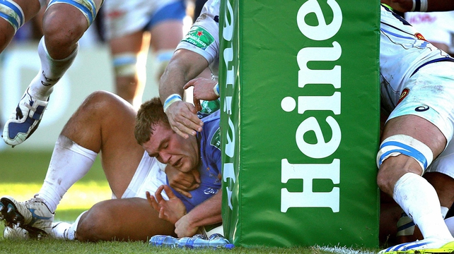 Leinster's Jack McGrath squeezes through to score the decisive try against Castres