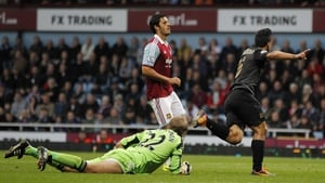Sergio Aguero turns to celebrate after scoring against the Hammers