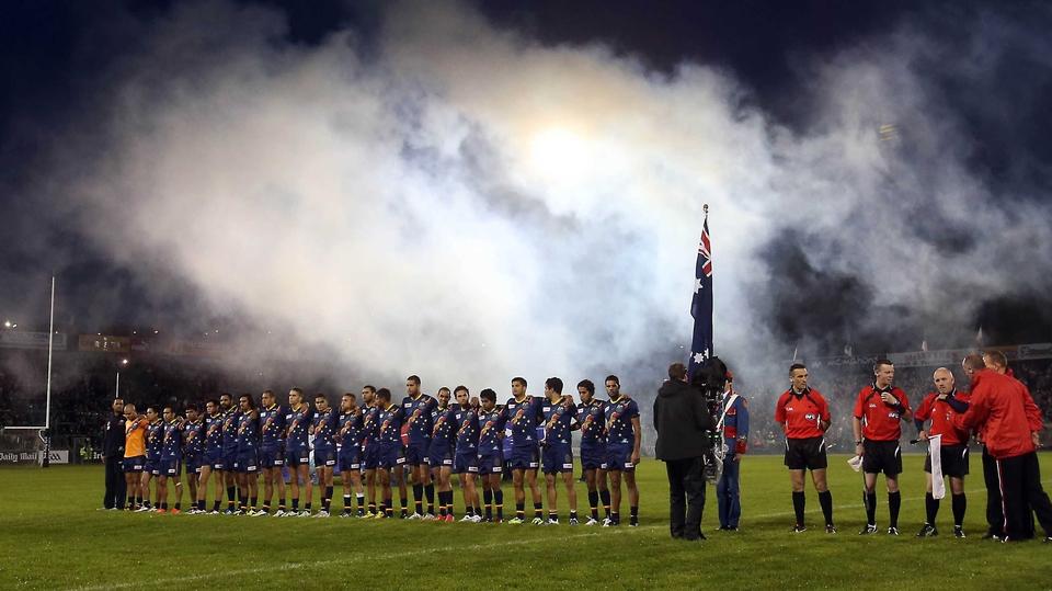 The Aussies stand for a their national anthem, Advance Australia Fair