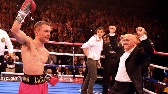 Carl Frampton celebrates with manager Barry McGuigan