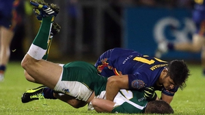Ireland's Aidan O'Shea and Sharrod Wellingham of Australia involved in an off the ball incident