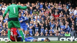 Eden Hazard of Chelsea scores the controversial goal
