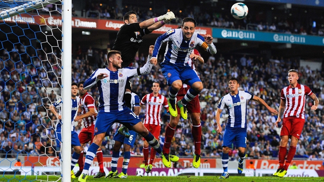 Espanyol goalkeeper Kiko Casilla clears the ball during the win against Atletico