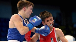 Ireland's Michael Conlan catches Brian Gonzalez of Mexico at the AIBA World Boxing Championships in Kazakhstan
