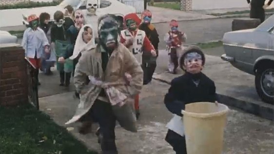 Children calling house to house at Halloween in Bray, 1977