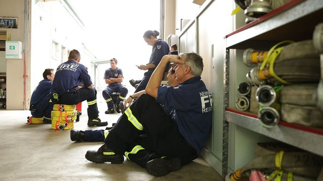 NSW firefighters wait on standby at Blackheath Fire Station in Lithgow