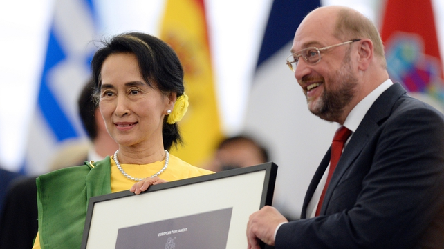Aung San Suu Kyi collected the prize from European Parliament President Martin Schulz