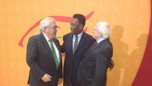 Joe Costello, Pele and President Higgins at the event in Guadalajara (Pic: Irish Embassy Mexico)