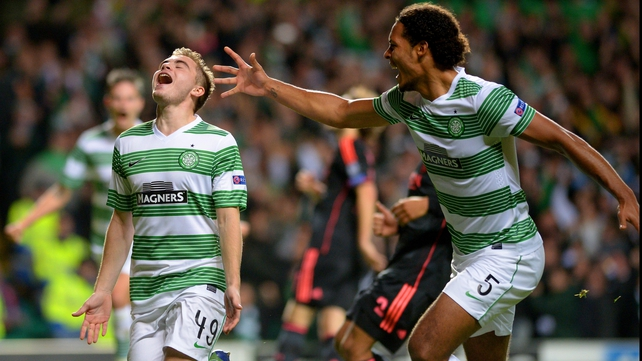 James Forrest celebrates Celtic's opener against Ajax