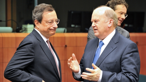 European Central Bank president Mario Draghi and Michael Noonan pictured at a previous meeting