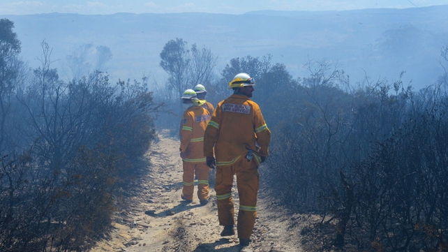 Firefighters struggle with strong winds as they survey fire damage at Mount York