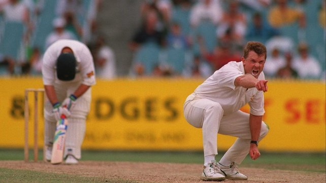 Craig McDermott appeals for a wicket during The Ashes in 1994