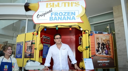 Mitch Hurwitz at the Bluth Banana stand from Arrested Development