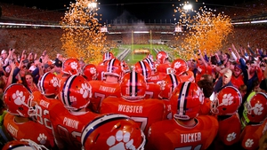 The Clemson Tigers make their entrance before their game against the Florida State Seminoles at Memorial Stadium in Clemson, South Carolina