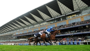 Silvestre De Sousa celebrates as he rides Farhh to win The QIPCO Champion Stakes at Ascot