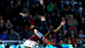 Kevin Nolan of West Ham United got a booking for this tackle on Manchester City's David Silva