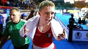Donegal boxer Jason Quigley shows his delight after guaranteeing himself a bronze medal at the World Amateur Championships