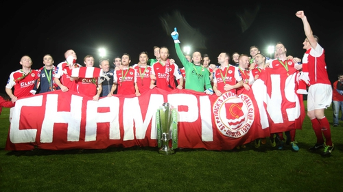 Airtricity Premier Division champions St Pat's Athletic with the winners trophy at Richmond Park