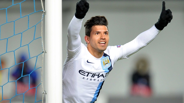 Sergio Aguero celebrates after scoring for City in Moscow