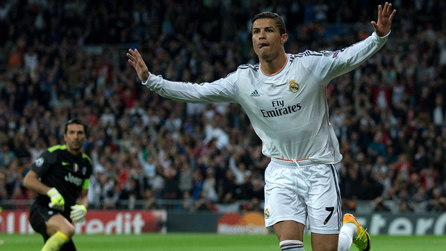 Cristiano Ronaldo celebrates his goal against Juventus
