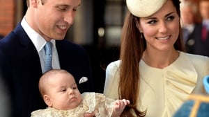 Britain's Prince George with his parents before his christening at St James's Palace in London