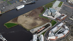 An aerial picture shows Britain and Ireland's largest land art entitled 'Wish' at Belfast's Titanic Quarter
