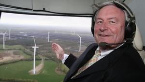 Bord na Móna Chairman John Horgan flies over the site of the new 40MW wind farm development at Bruckana