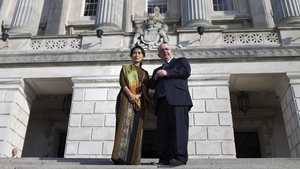 Aung San Suu Kyi was greeted at Stormont by Speaker of the Assembly William Hay