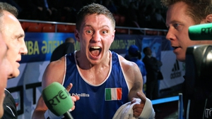 World Amateur Boxing championship silver medallist Jason Quigley screams his delight in Kazakhstan