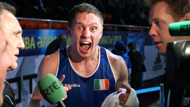 Jason Quigley shows his delight after victory in the AIBA World Championship semi-final